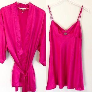 2 Piece Victoria Secret VS Fuchsia Pink Silky Robe
